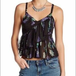 Free People Melbourne ruffle ribbed floral tank